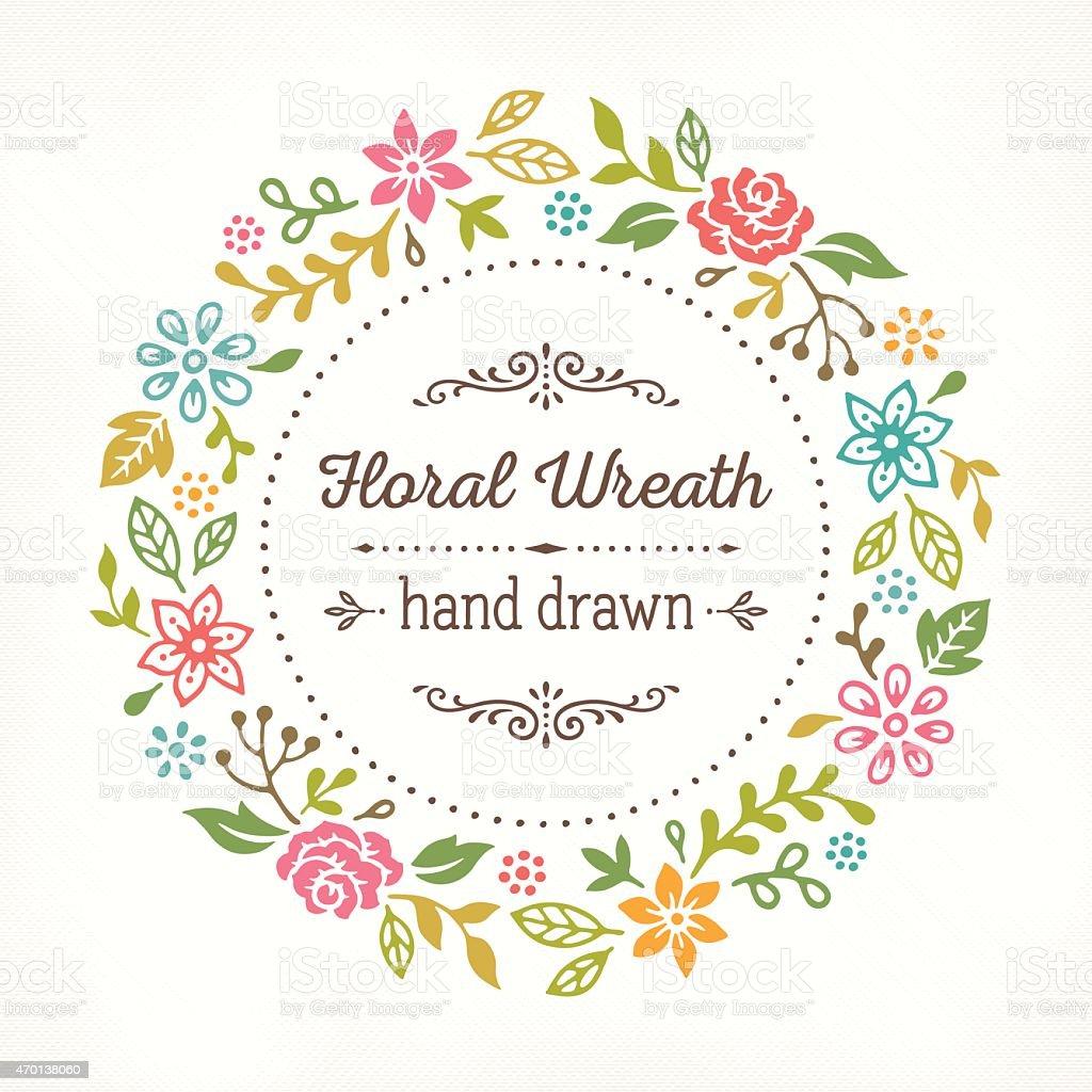 Floral Wreath Hand Drawn vector art illustration