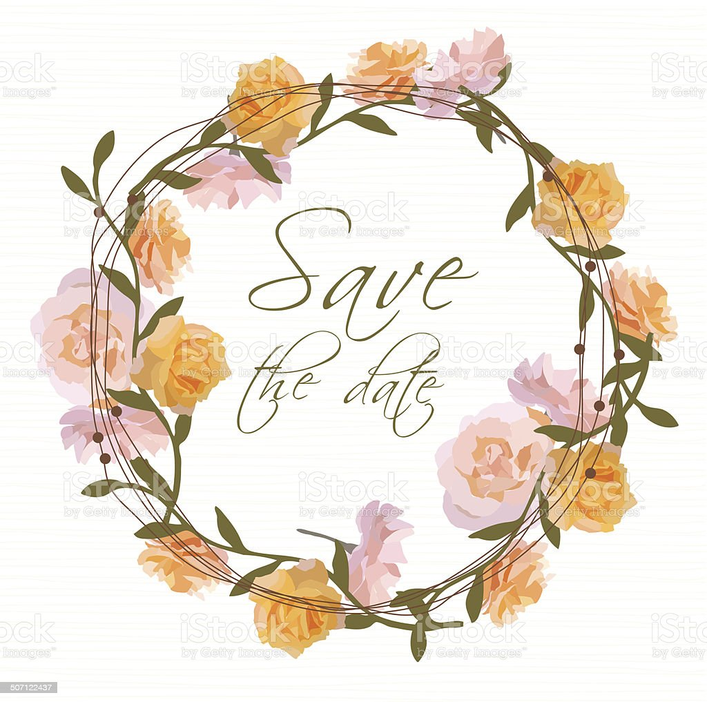 Floral wreath invitation royalty-free stock vector art