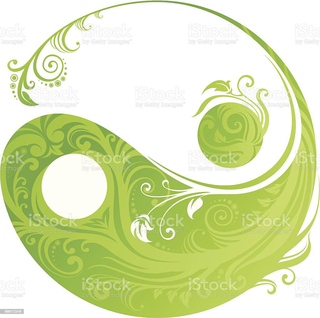 Floral yinyang symbol vector art illustration