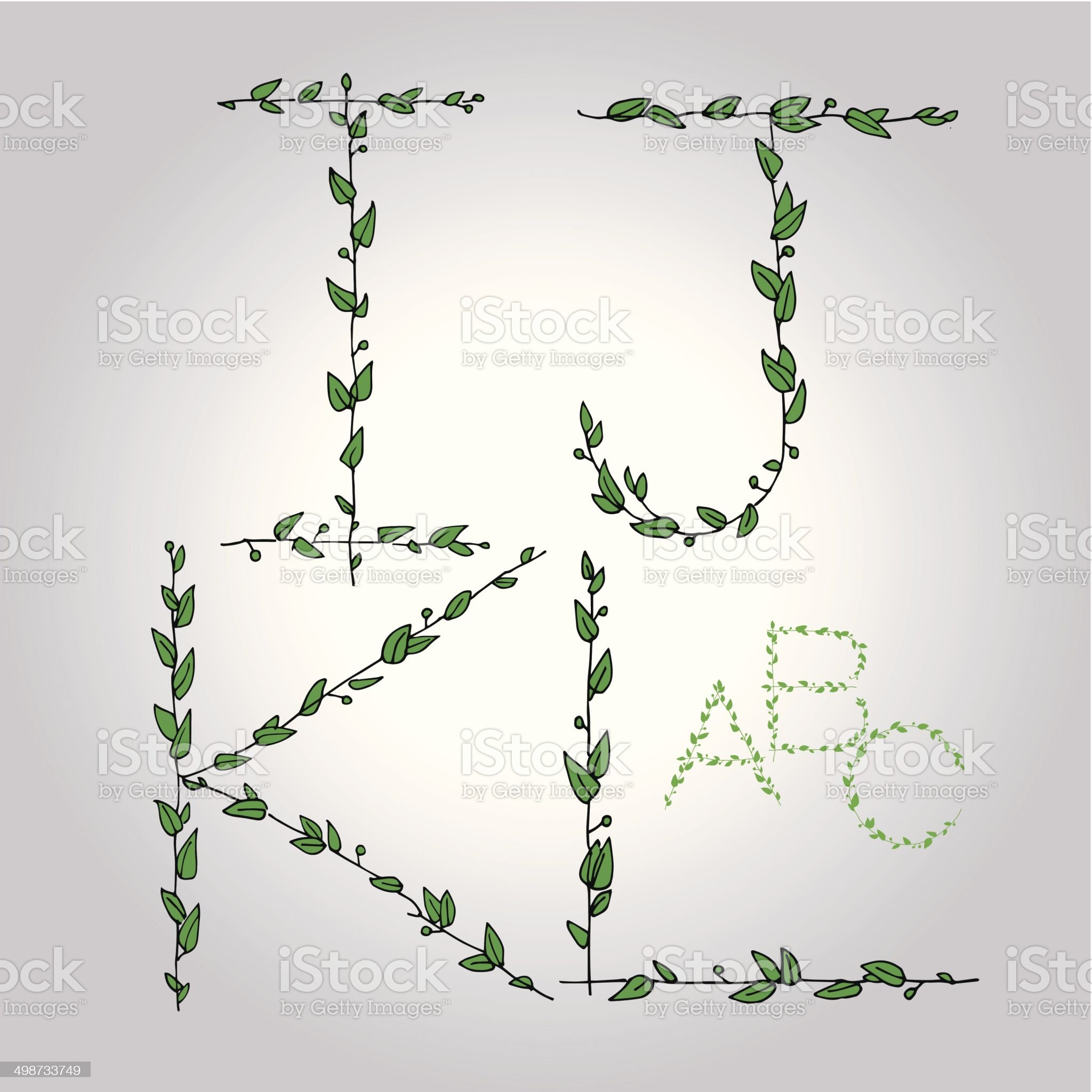 floral_leaves_view_alphabet_ijkl_green royalty-free stock vector art