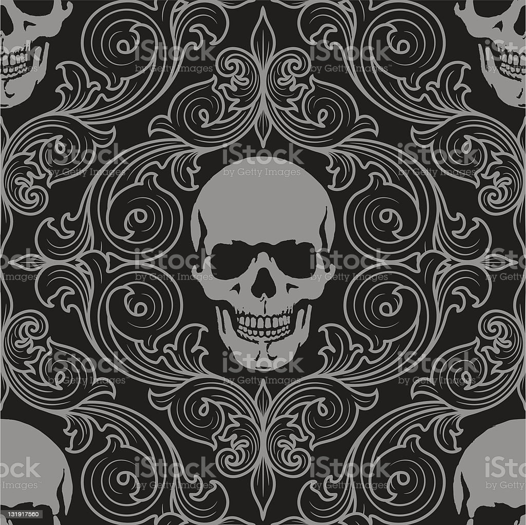 florall pattern fith skulls royalty-free stock vector art