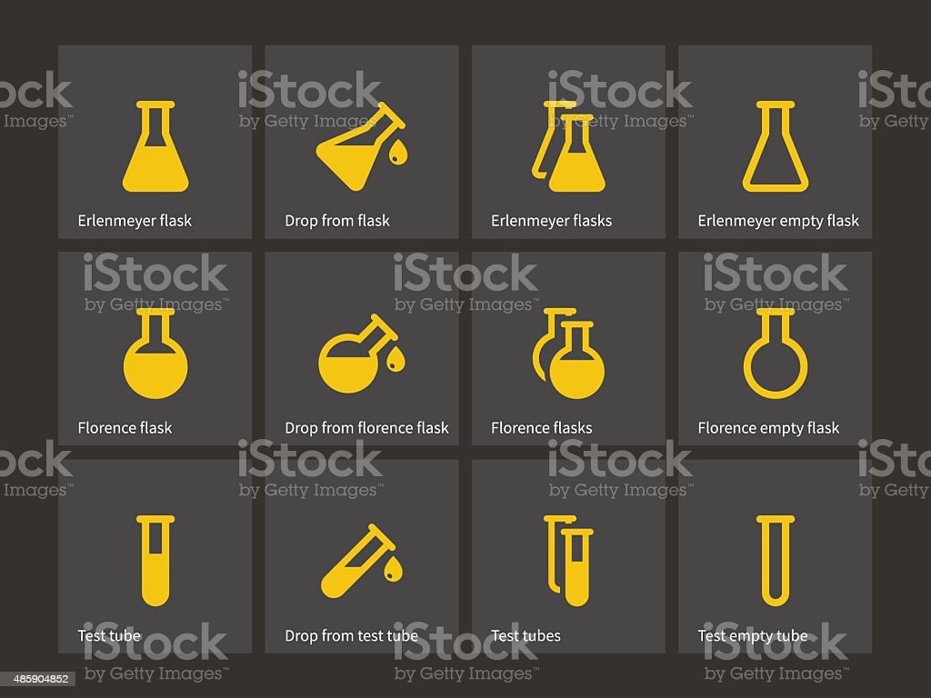 Florence and erlenmeyer flasks icons vector art illustration
