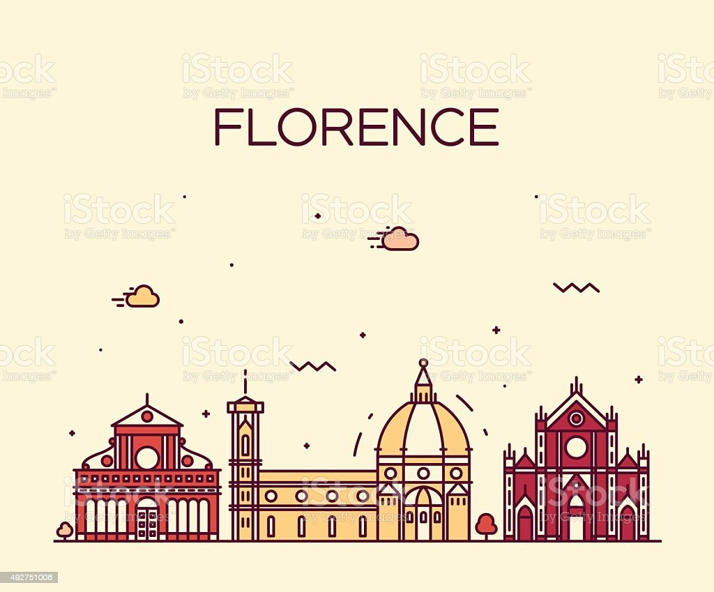 Florence skyline silhouette vector linear style vector art illustration