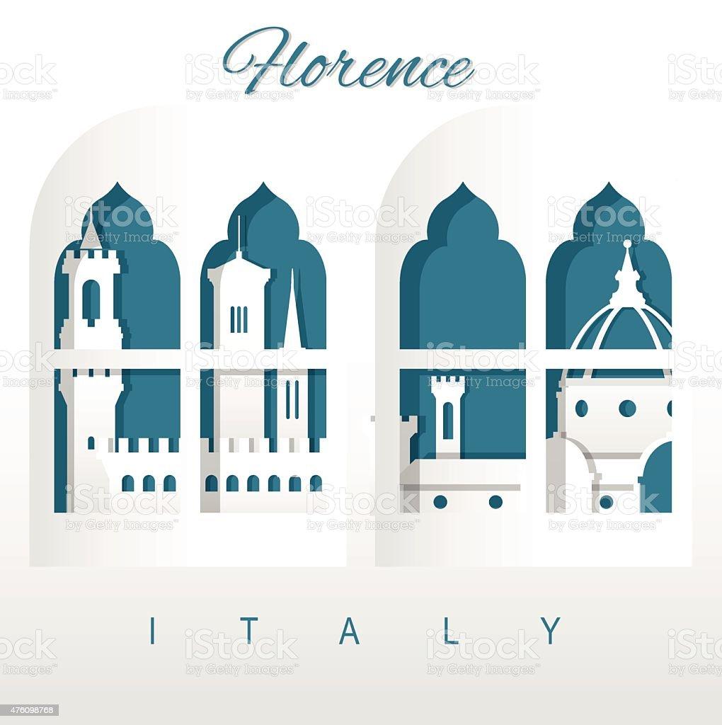 Florence skyline vector art illustration
