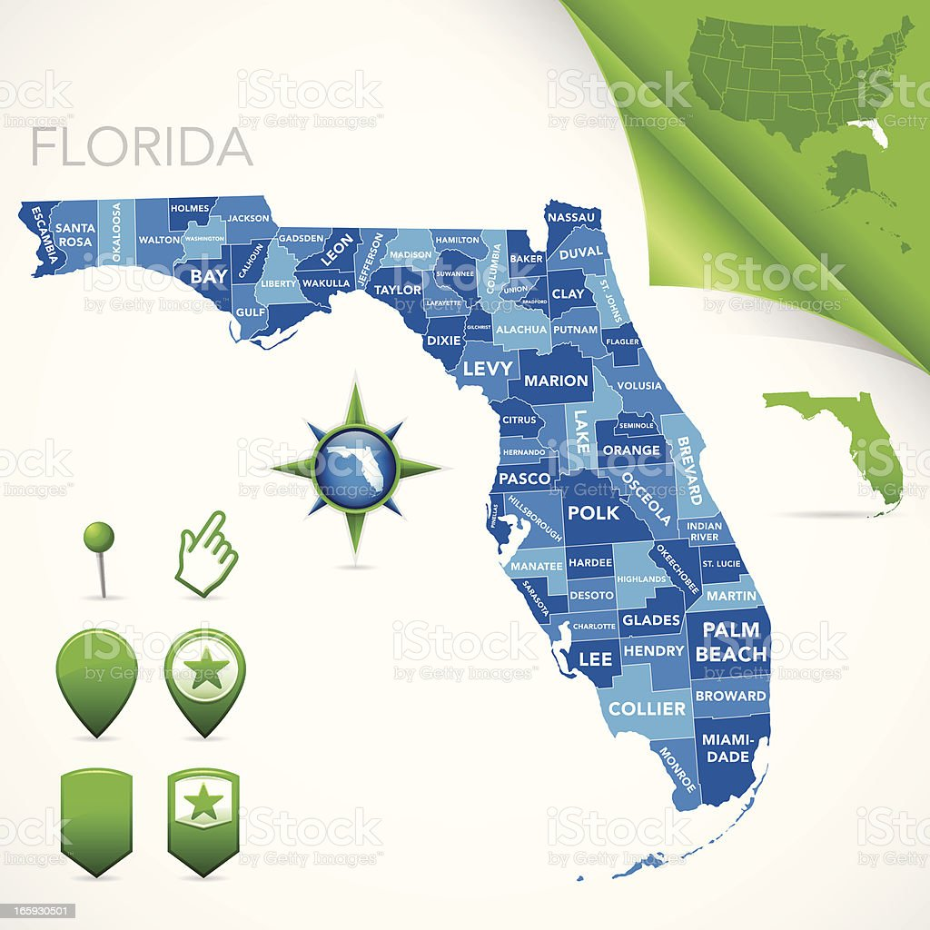 Florida County Map vector art illustration