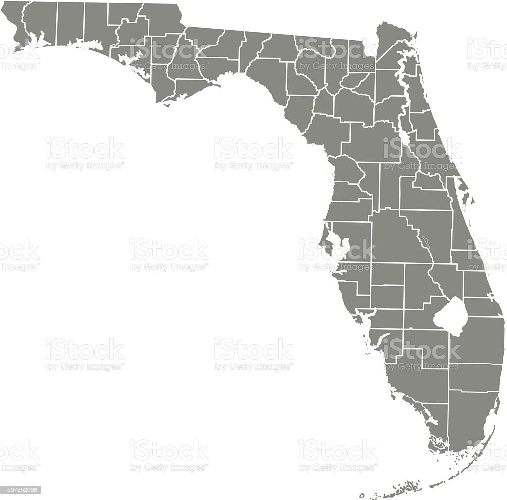 Florida county map vector outline vector art illustration