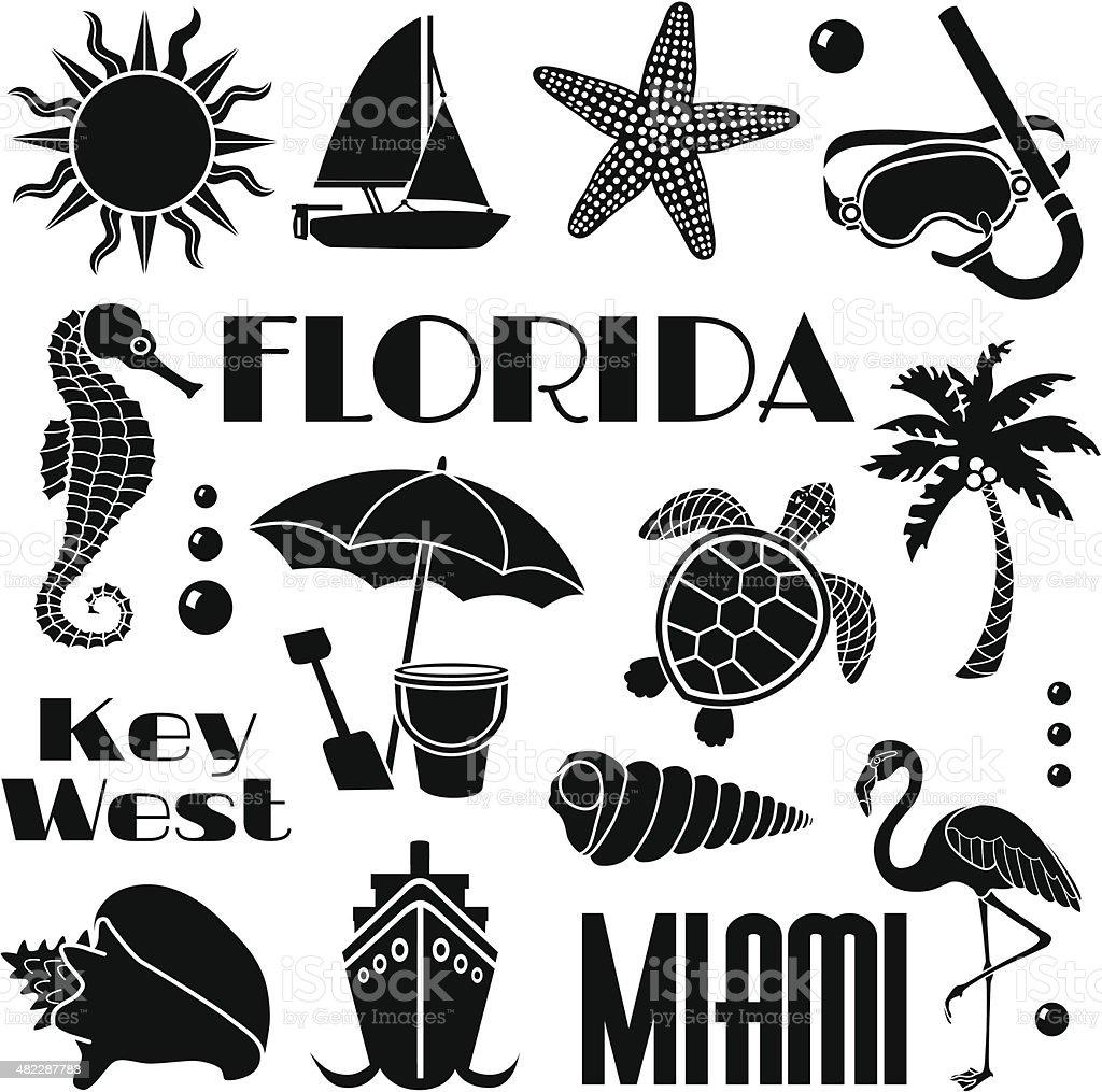 Florida design elements vector art illustration