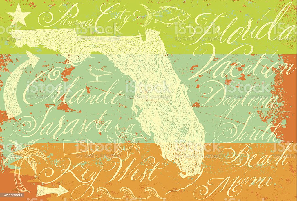 Florida doodles with calligraphy royalty-free stock vector art