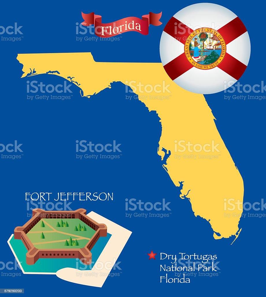 Florida, Fort Jefferson vector art illustration