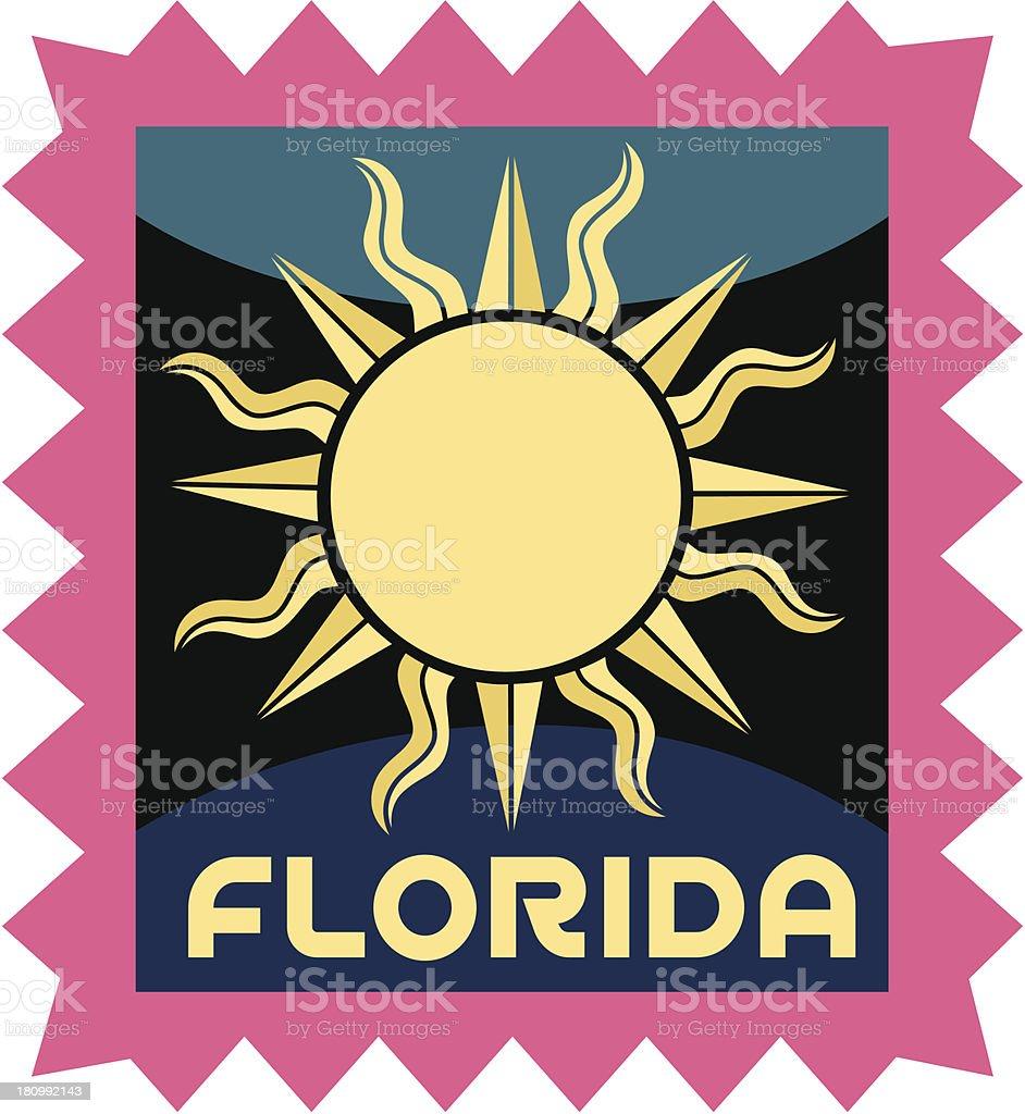 Florida luggage label or travel sticker vector art illustration