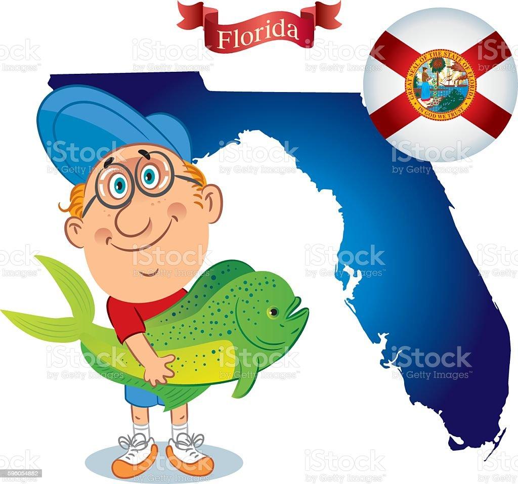 Florida - Mahi Mahi vector art illustration
