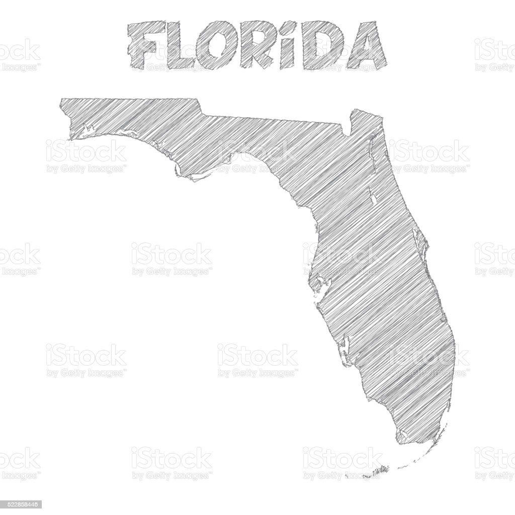 Florida Map Hand Drawn On White Background Stock Vector Art - Hand drawn us map vector