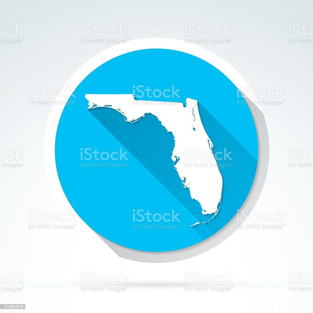 Florida map icon, Flat Design, Long Shadow vector art illustration