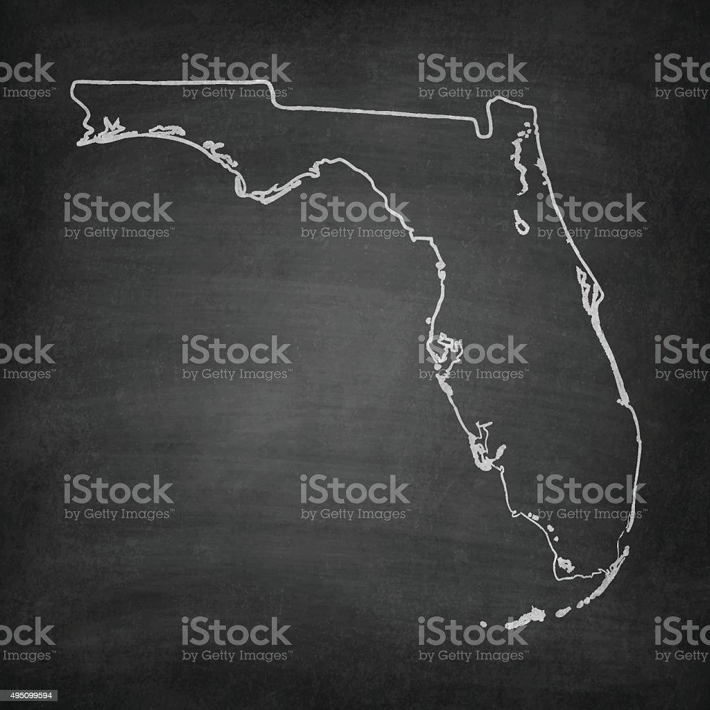 Florida Map on Blackboard - Chalkboard vector art illustration