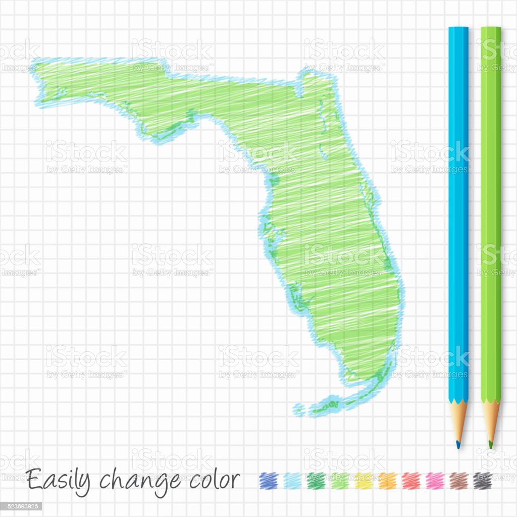 Florida Map Sketch With Color Pencils On Grid Paper Stock Vector - Florida map to color