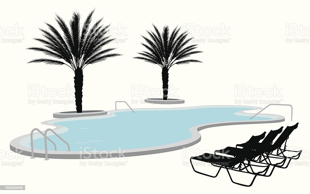 Florida Pool Vector Silhouette vector art illustration