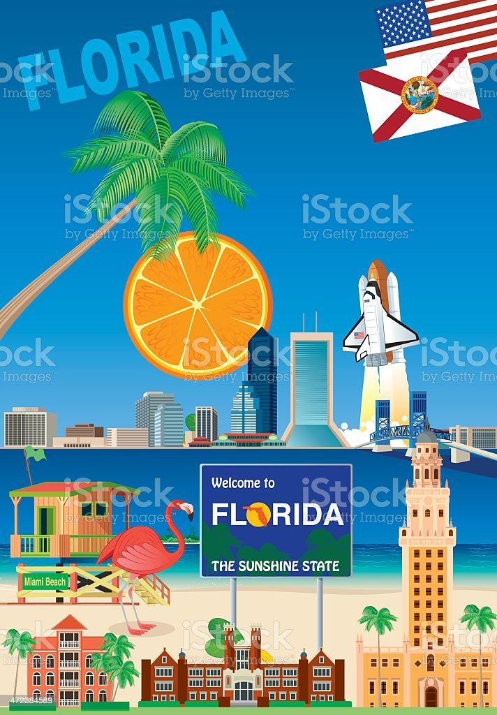 Florida Poster vector art illustration