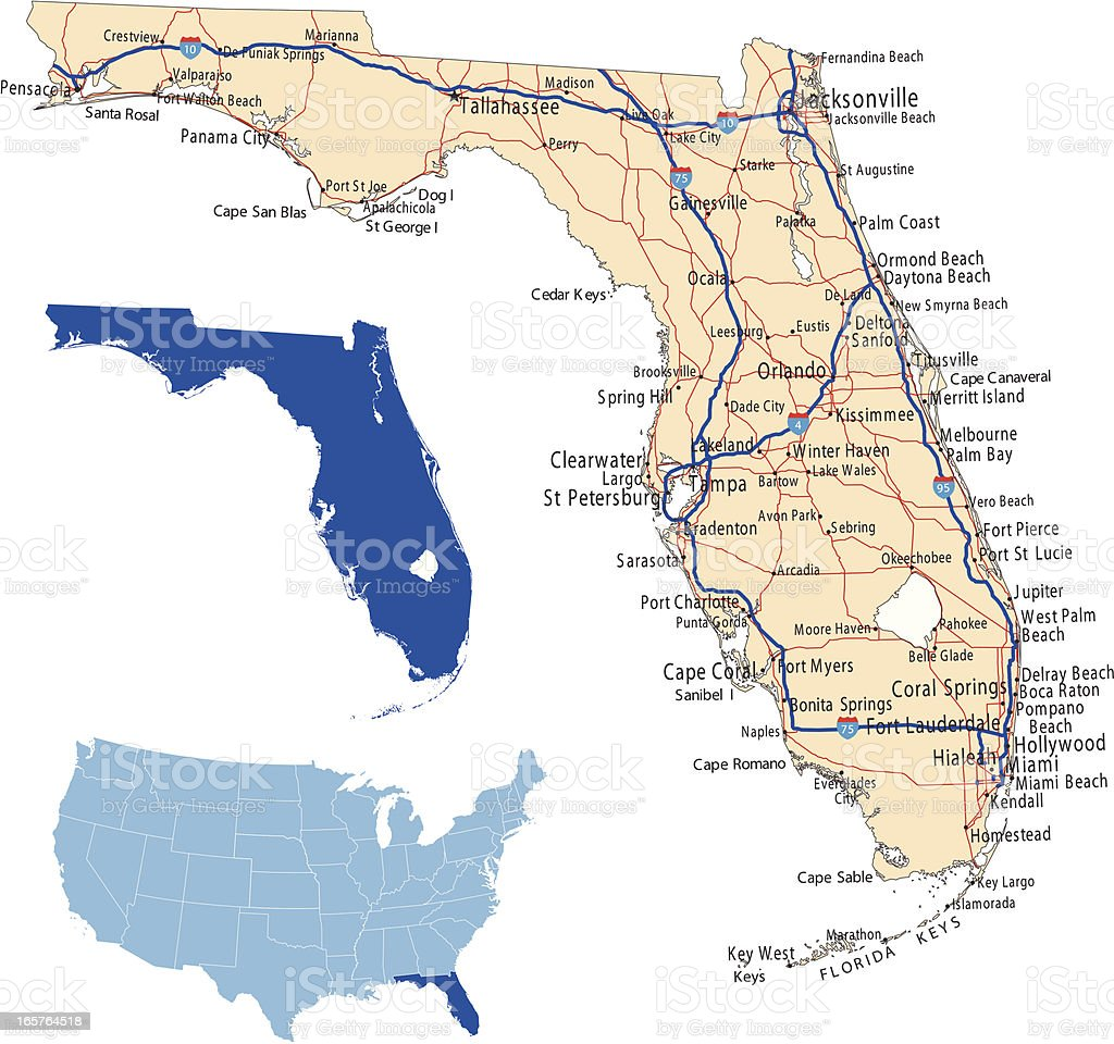 Florida road map vector art illustration