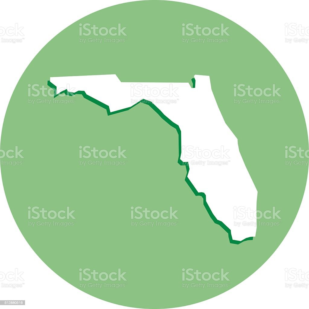 Florida Round Map Icon vector art illustration