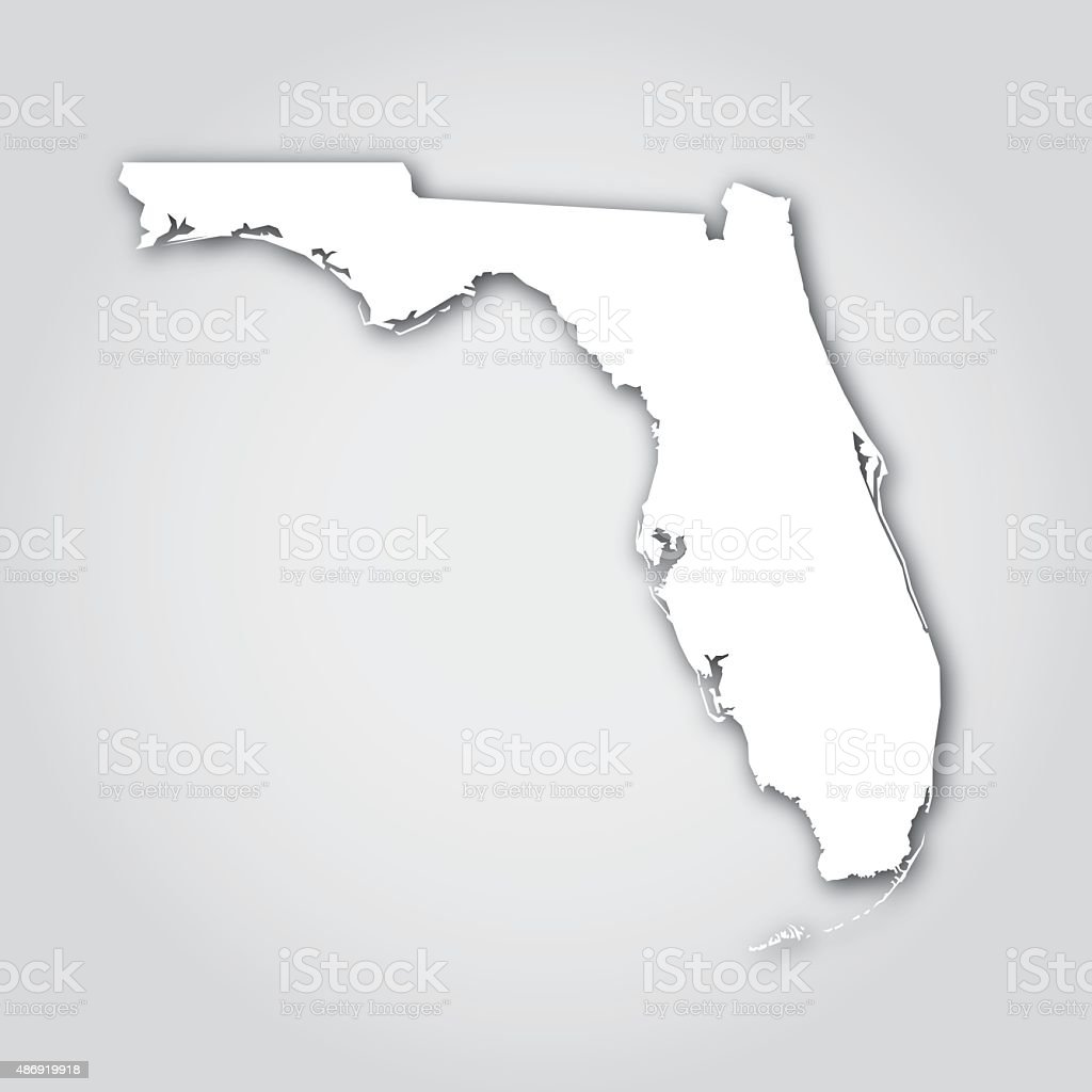 Florida Silhouette White Stock Vector Art IStock - Us map white silhouette