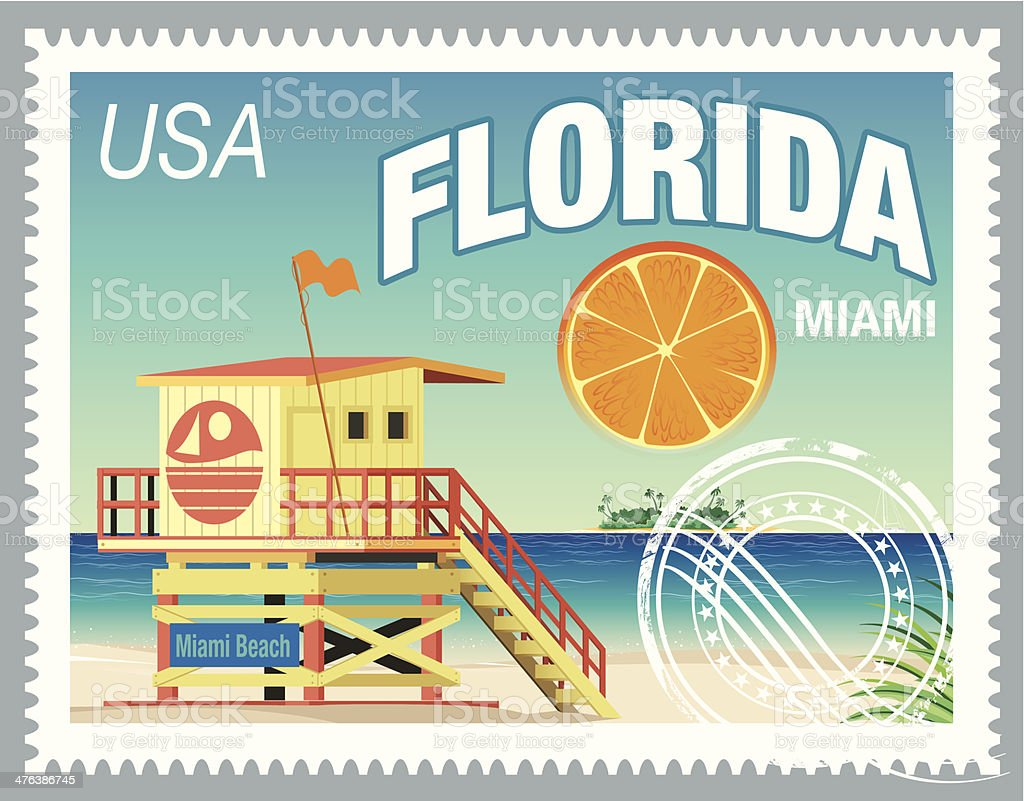 Florida Stamp vector art illustration