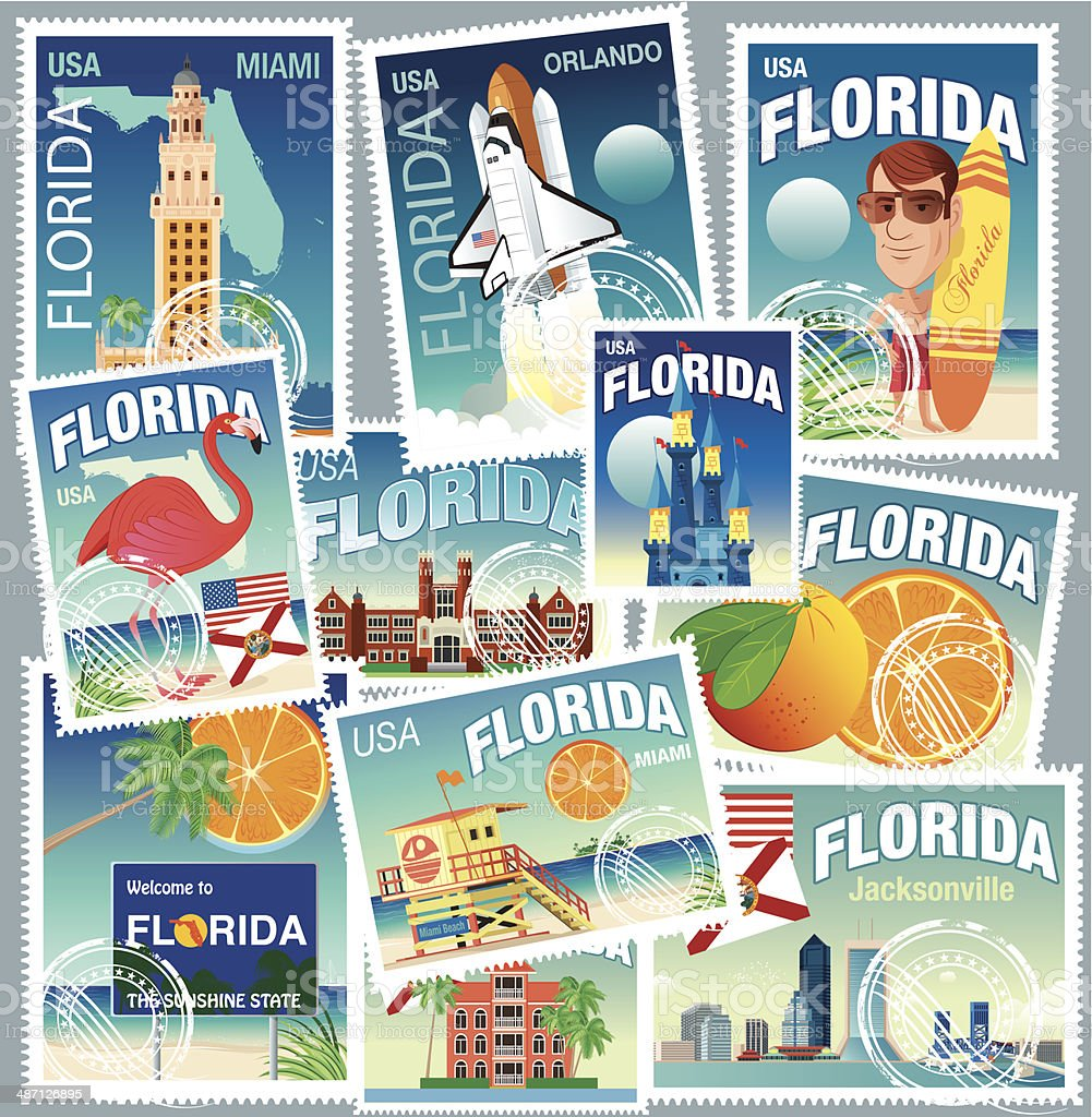 Florida Stamps vector art illustration