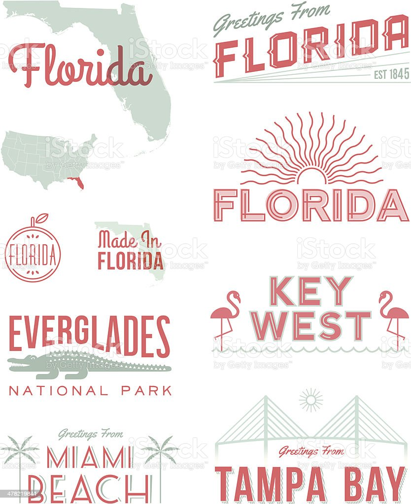 Florida Typography vector art illustration