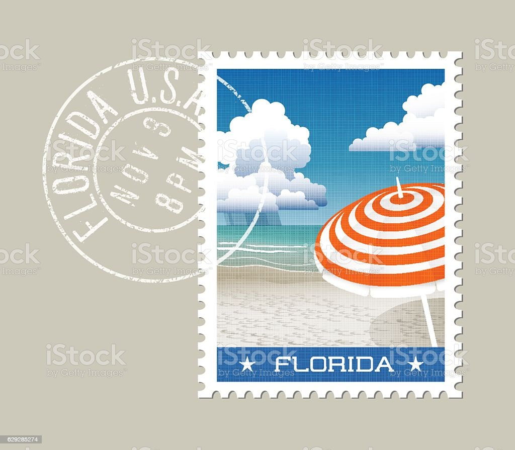 Florida white sand beach with striped umbrella. Postage stamp design. vector art illustration