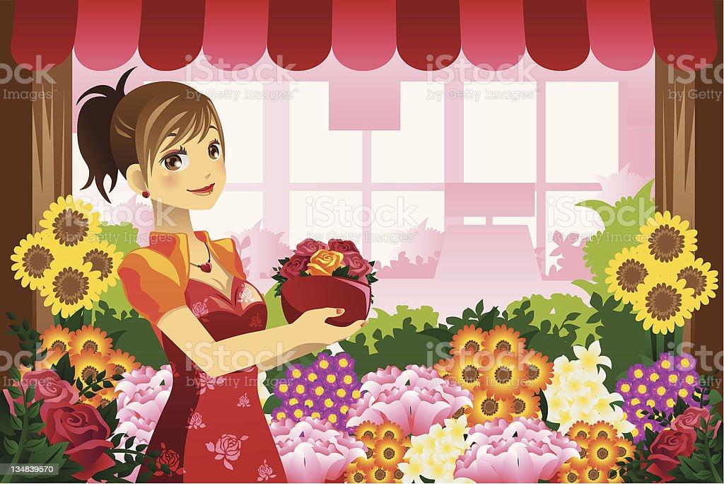 Florist girl royalty-free stock vector art