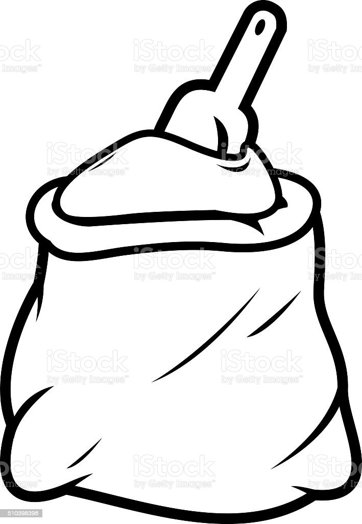 Flour sack and scoop vector art illustration