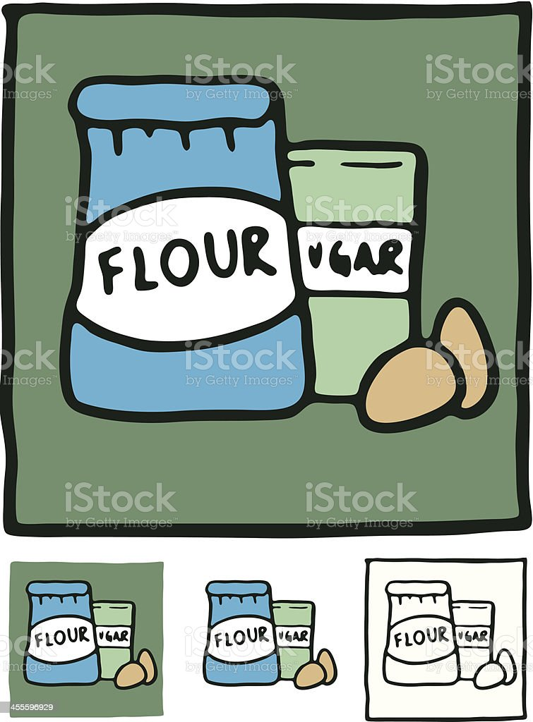 Flour sugar and eggs block icon royalty-free stock vector art
