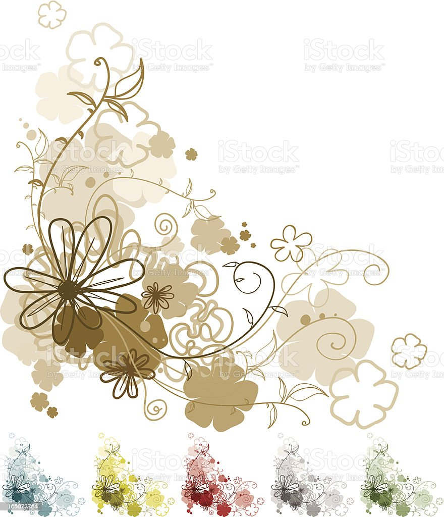 Flouriffic! 6 Colour Versions! royalty-free stock vector art
