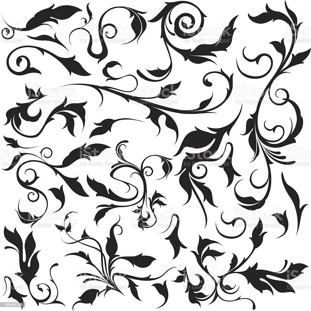 flourish leafs royalty-free stock vector art