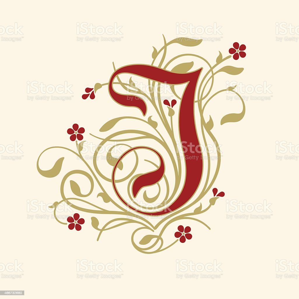 Flourish Ornamental Letter J With Ruby Red Flowers Stock