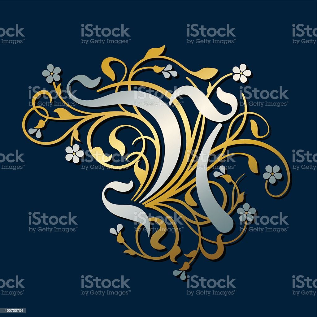 Flourish, ornamental letter N (Initial) in gold and silver vector art illustration