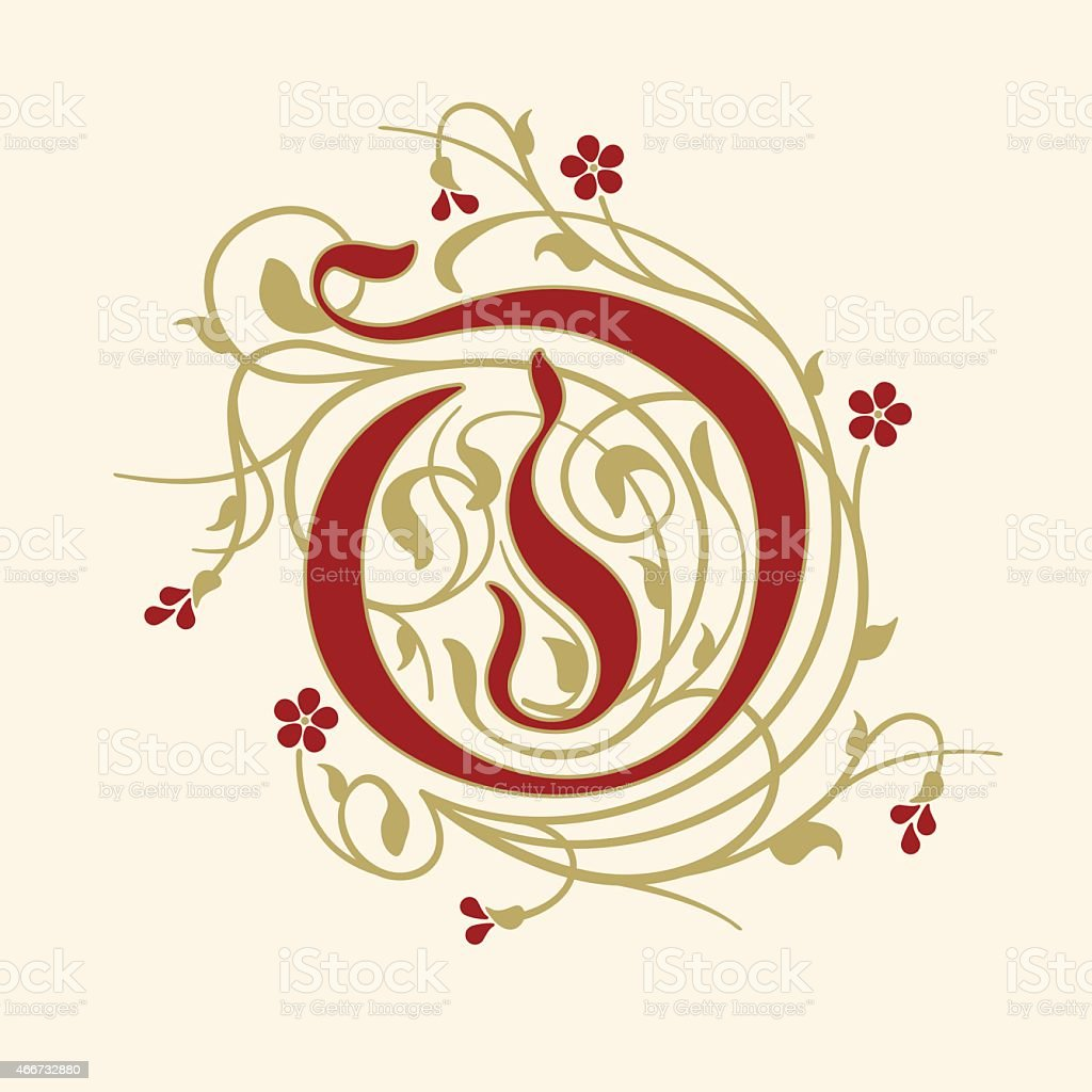 Flourish, ornamental letter O (Initial) with ruby red flowers vector art illustration