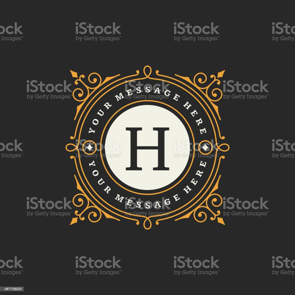 Flourishes calligraphic monogram emblem template vector art illustration