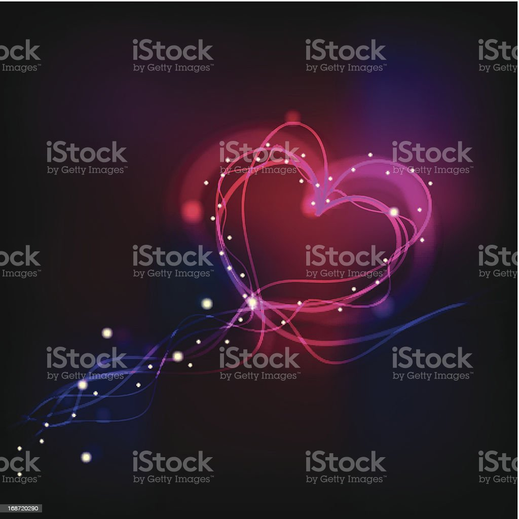 Flow of light forming heart royalty-free stock vector art