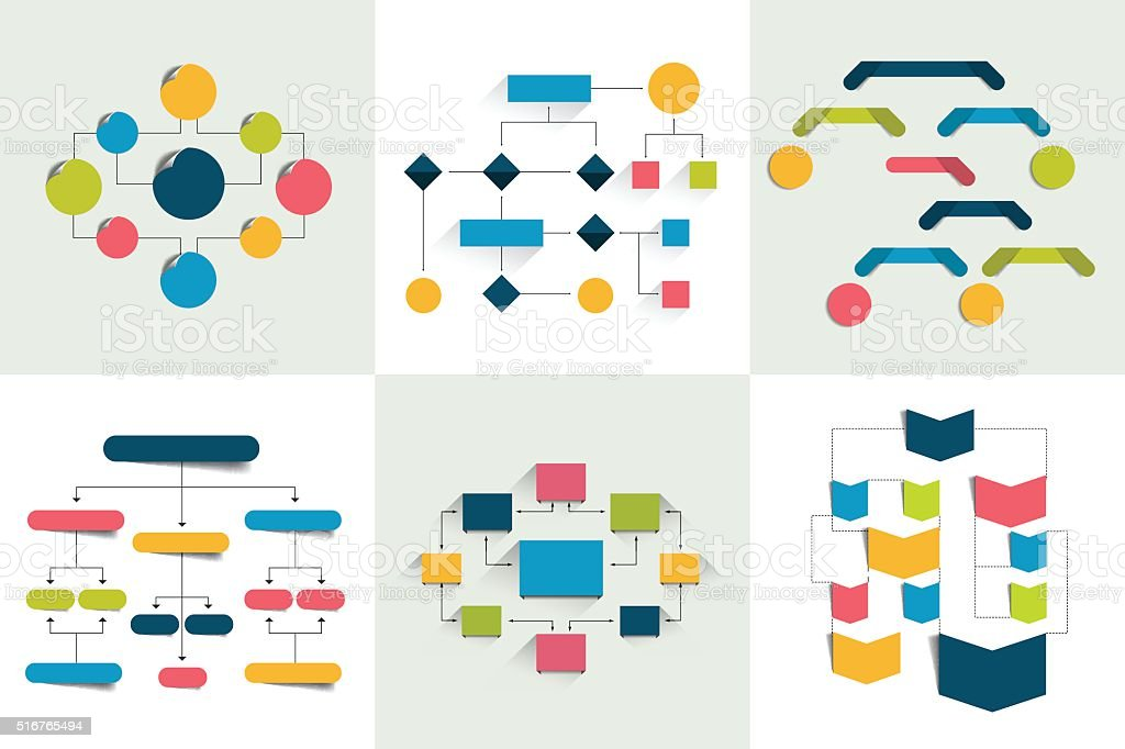 Flowcharts. Set of 6 flow charts schemes, diagrams. Infographics elements. vector art illustration