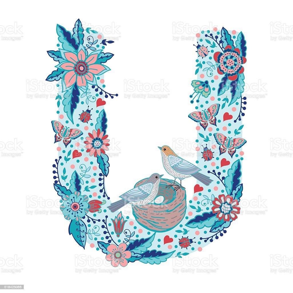 Flower alphabet letter U vector art illustration