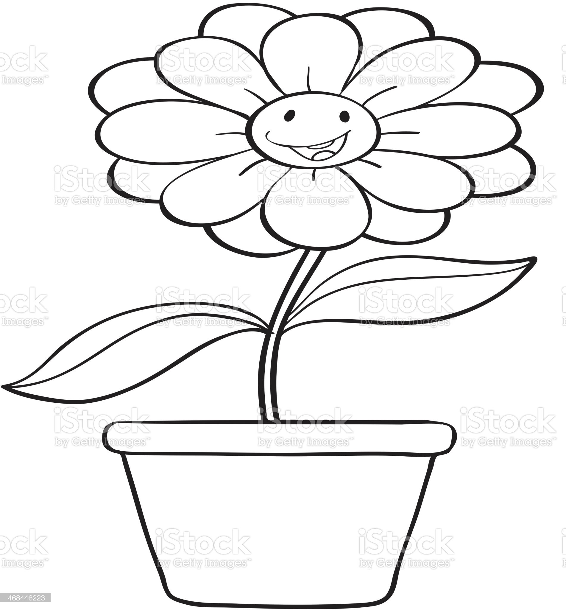 flower and a pot sketch royalty-free stock vector art