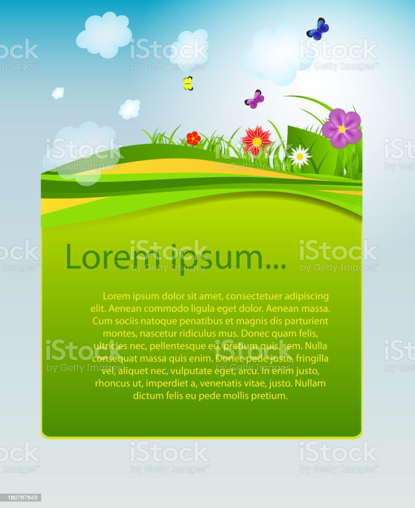 Flower and grass banner. vector illustration vector art illustration