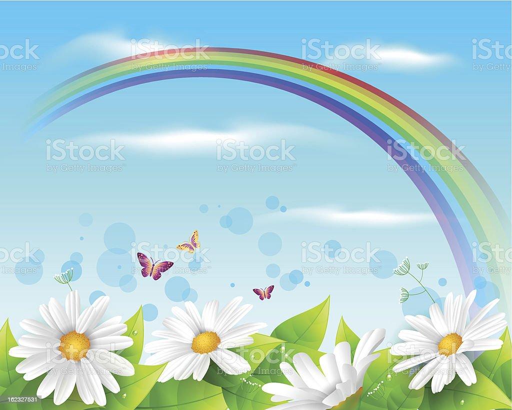 Flower and leaf background vector art illustration