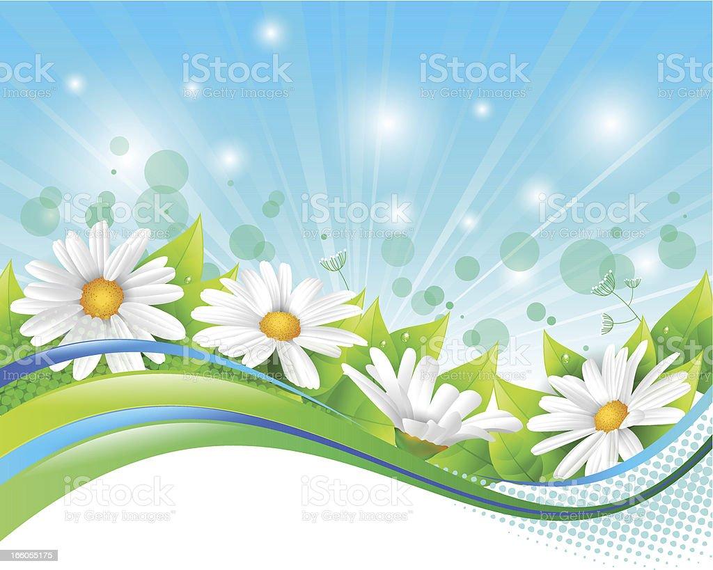 Flower and leaf banner vector art illustration