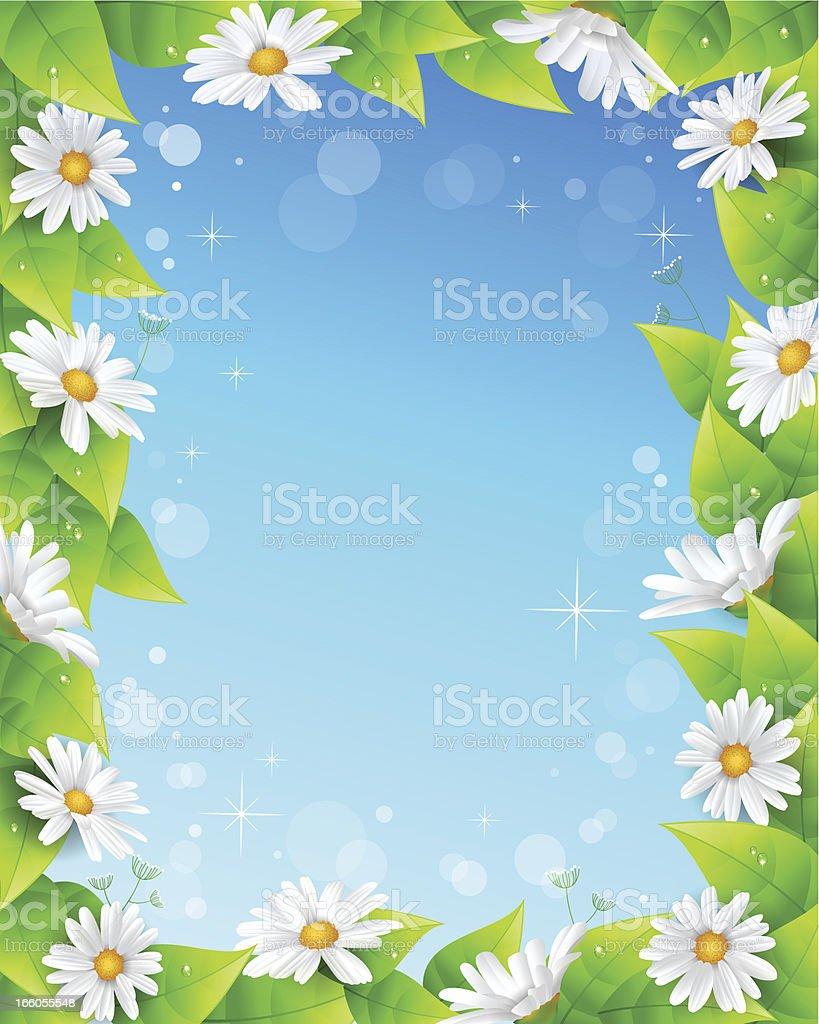 Flower and leaf frame vector art illustration