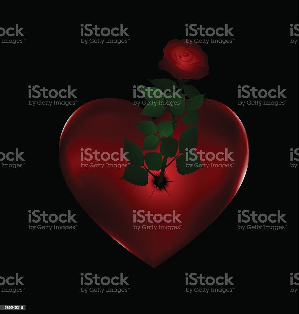 flower and stone red heart vector art illustration