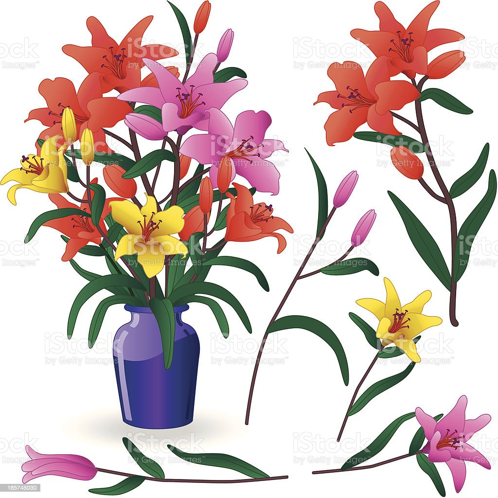 flower arrangement with lilies royalty-free stock vector art