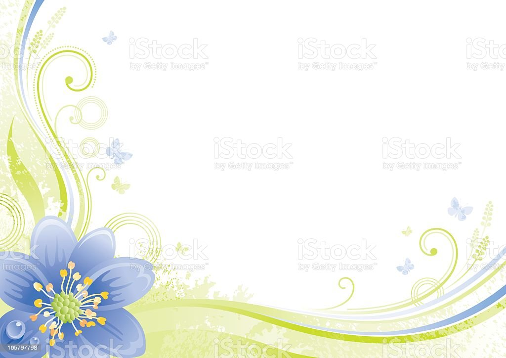 Flower background with copyspace: blue Snowdrop royalty-free stock vector art