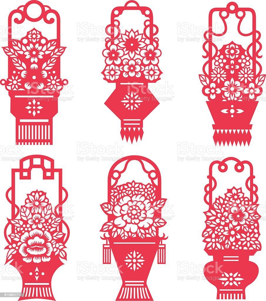 Flower Baskets Vector : Flower baskets stock vector art istock