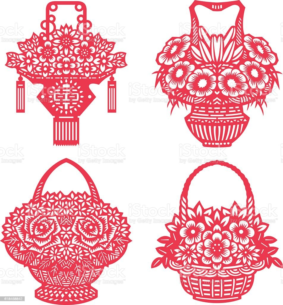 Flower baskets(Chinese traditional paper-cut art) vector art illustration